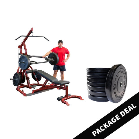 Body Solid Corner Leverage Gym with Extreme Bumper Plate Package