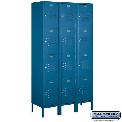 "Salsbury 15"" Wide Four Tier Standard Metal Locker - 3 Wide"