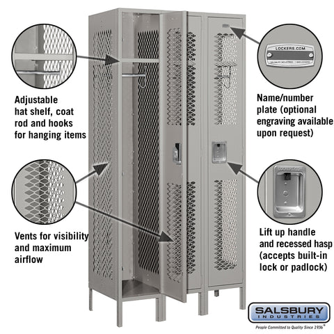 "Salsbury 12"" Wide Single Tier Vented Metal Locker - 3 Wide"