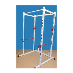 New York Barbells Power Rack With White Chin-UP Bar, Red J and Red Safety Bars
