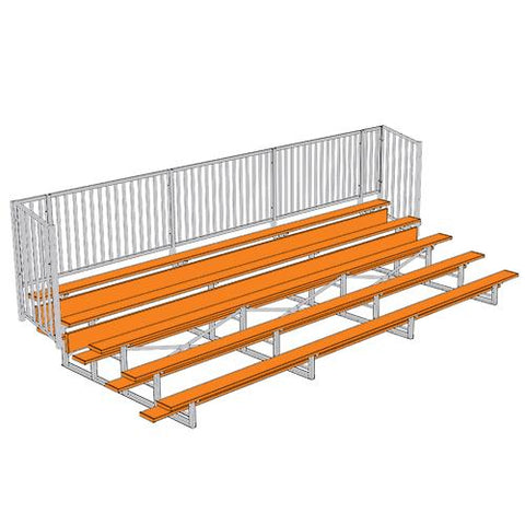 JayPro 5 Row Enclosed Bleacher w/ Guard Rail Powder Coated