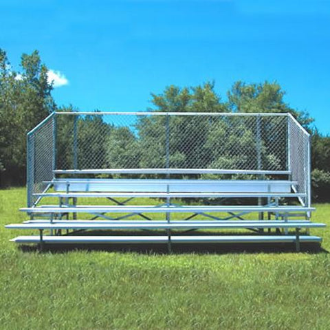 JayPro 5 Row 15'-27' Enclosed Aluminim Bleachers w/ Chain Link - Pitch Pro Direct