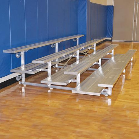 JayPro 15' Tip & Roll Standard Bleacher (4 Row) Natural Finish
