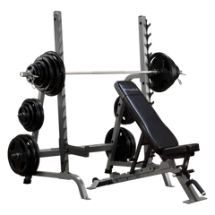 Body Solid Bench Rack Combo with Rubber Grip Olympic Set Package