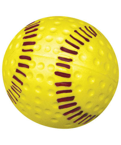 yellow dimpled seam pitching machine softballs with white background