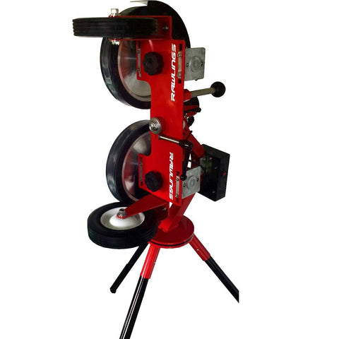 rawlings 2 wheel softball pitching machine side view