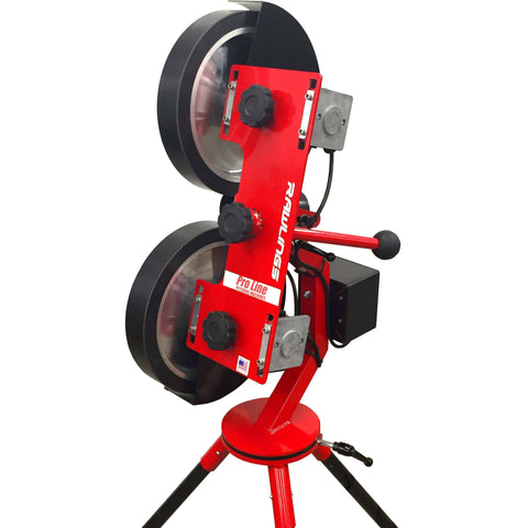 rawlings 2 wheel softball pitching machine side view closeup