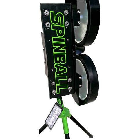 Spinball 2 Wizard 2 wheel pitching machine side view