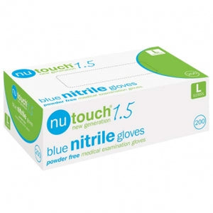Nutouch 1.5 Medical Powder Free Disposable Blue Nitrile Gloves (10 packs of 200 gloves)