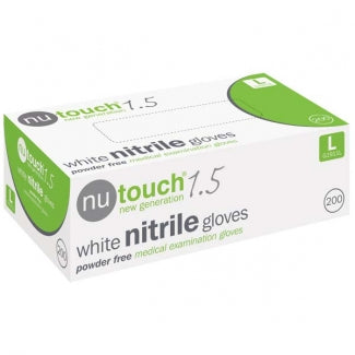Nutouch 1.5 Medical Powder Free Disposable White Nitrile Gloves (10 pks of 200 gloves)
