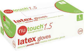 Nutouch 1.5 Medical Powder Free Disposable Textured Latex Gloves (10 pks of 100 gloves)