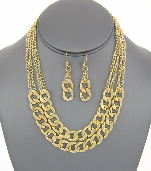 Multi-layered Chain Link Necklace Set