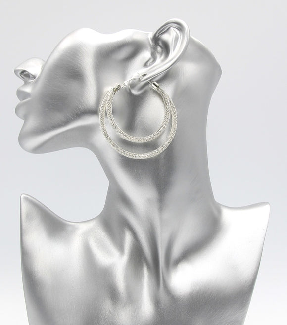 Mesh & Crystal Double Hoop Earrings