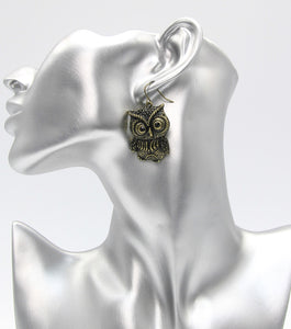 Metal Owl Drop Earrings