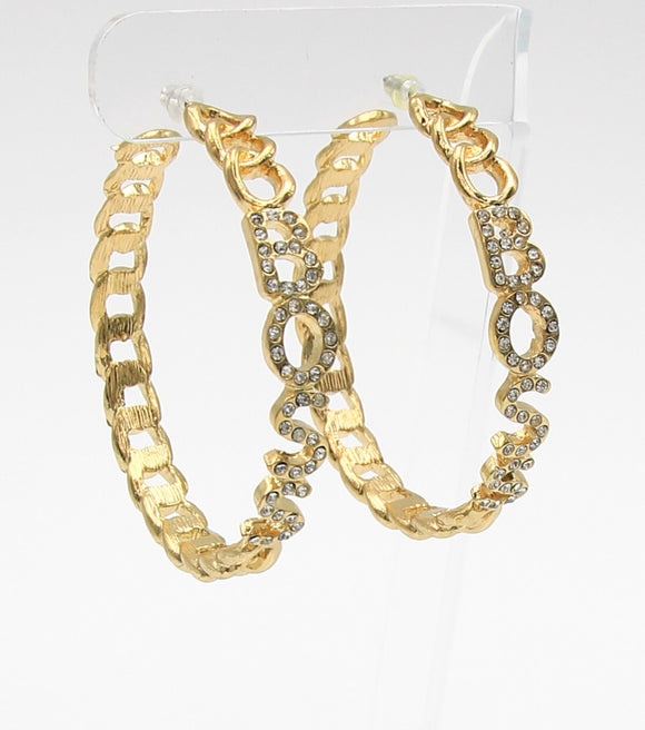 Crystal Pave BOSS Hopp Earrings