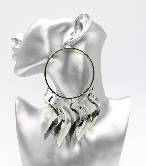Oversize Fringe Hoop Earrings