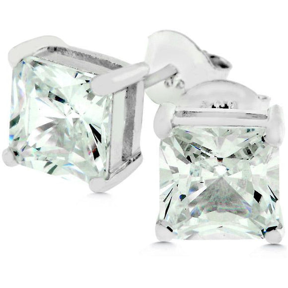 Sterling Silver Princess Cut Stud Earrings