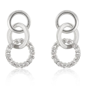 Rhodium Plated Finish Triplet Hooplet Earrings