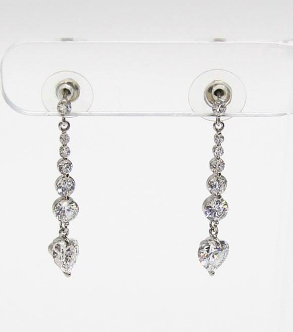 Heart CZ Drop Earrings