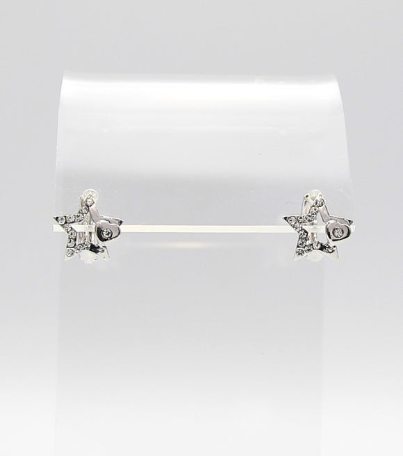 Crystal Pave Star Huggie Earrings