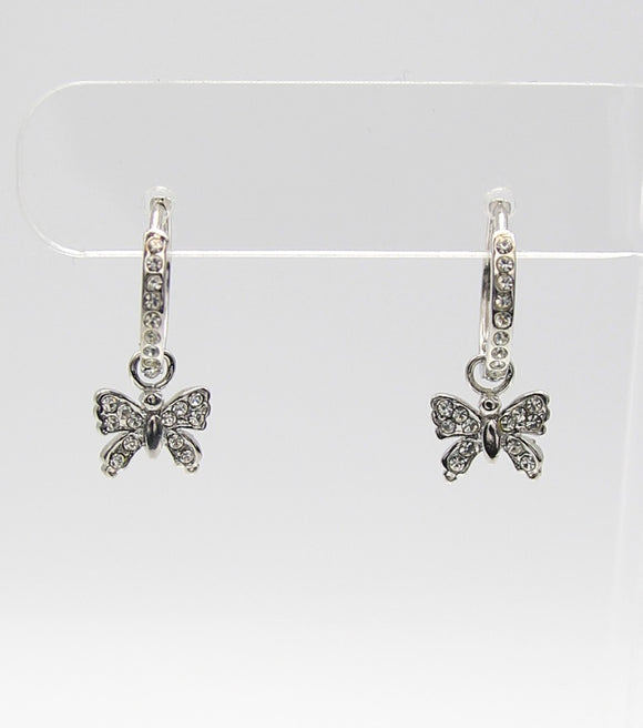 CZ Butterfly Hoop Earrings