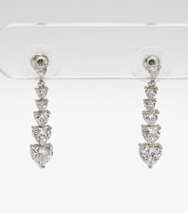 CZ Heart Dainty Bridal Earrings