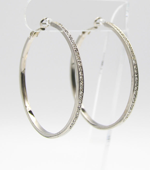 CZ Pave Classic Hoop Earrings