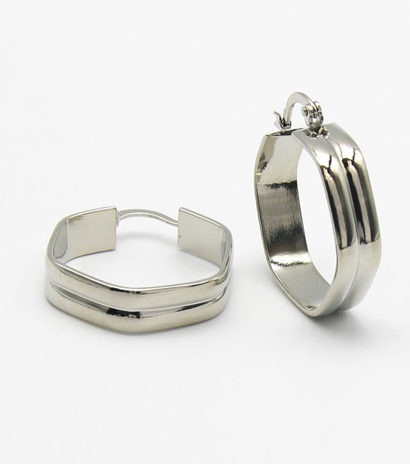Metal Hexagon Hoop Earrings