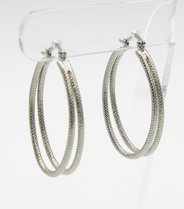 Diamond Cut Oval Hoop Earrings