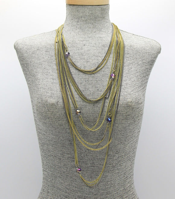 Long Metal Multi-Strand Layered Necklace