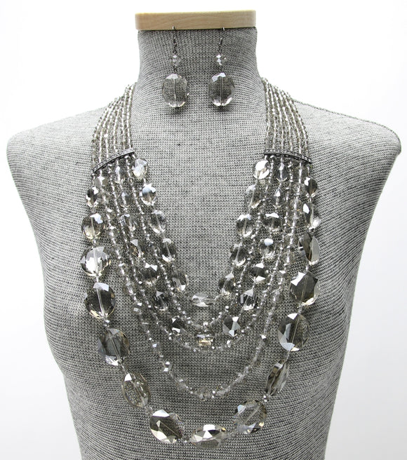 Statement Multi-Strand Crystal Beaded Necklace Set