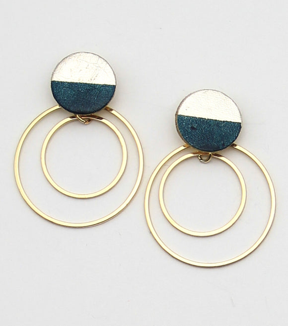 Leather Post Hoop Drop Earrings