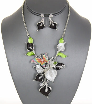 Enamel Tulip with Butterfly Rope Chain Necklace Set