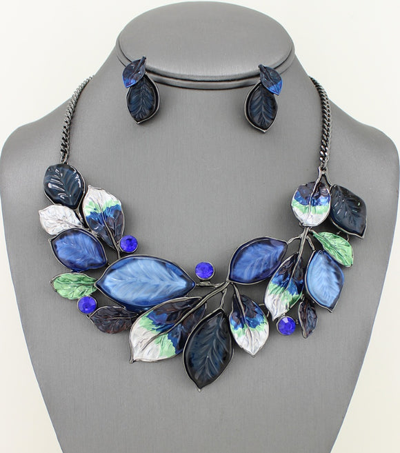 Enamel and Resin Candy Leaves Collar