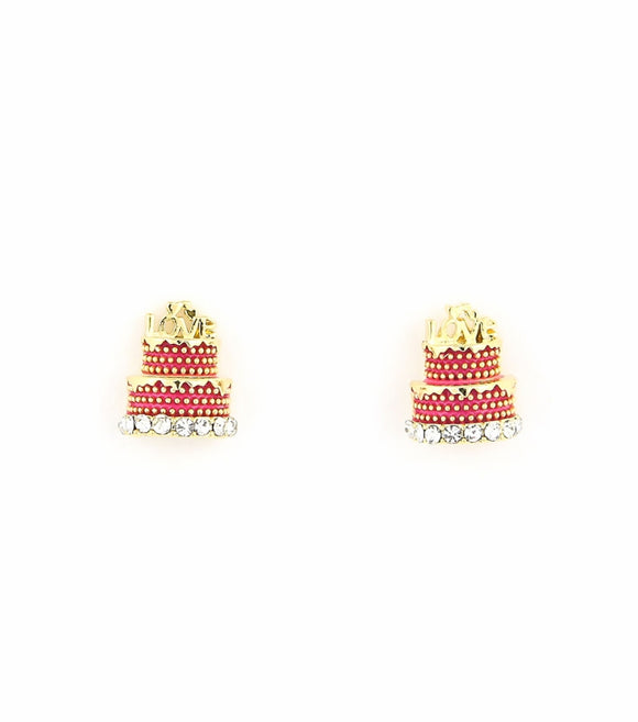 Painted Metal Wedding Cake Rhinestone Post Earrings