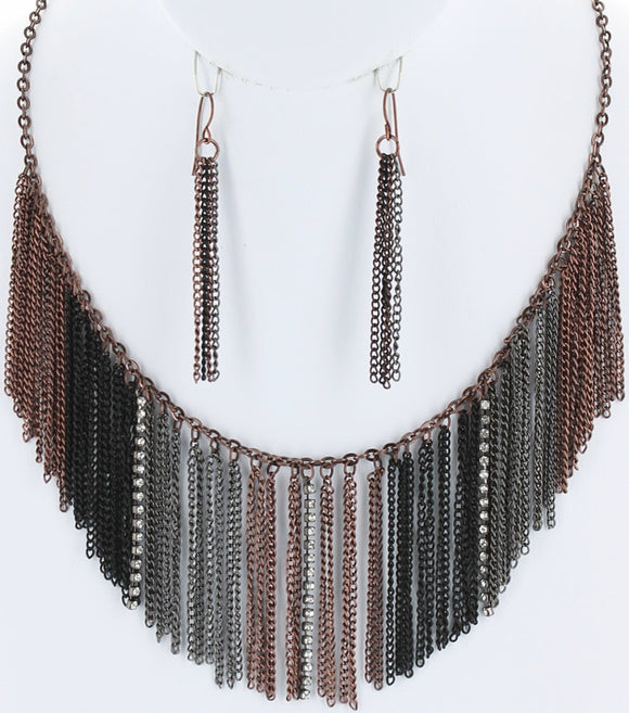 Rhinestone and Chain Frill Drop Necklace Set