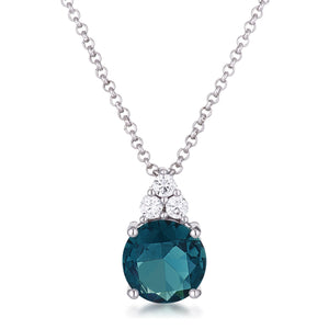 Simple Rhodium Plated 9mm Blue Green CZ Pendant