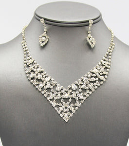 Rhienstone Bridal Dainty Necklace Set