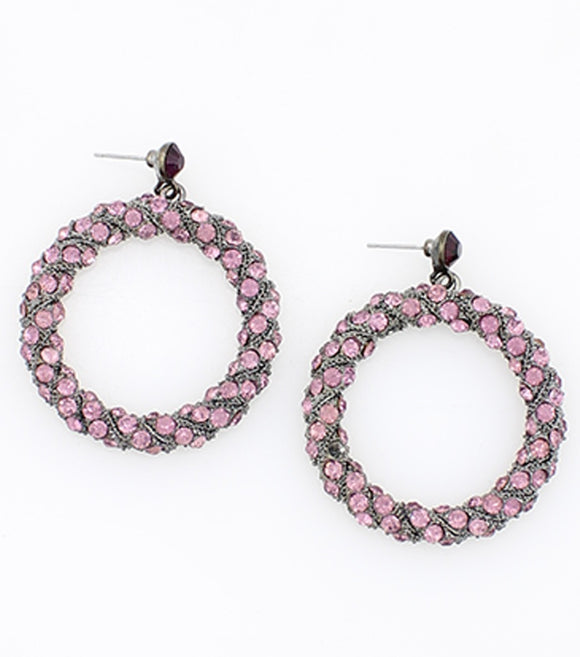 Rhinestone Encrusted Circle Drop Earring