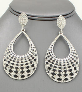 Filigree Teardrop Rhinestone Post Earring