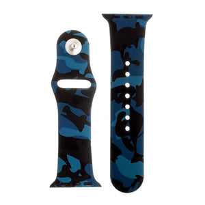 Blue Camo Silicone Sports Watch Band 42mm
