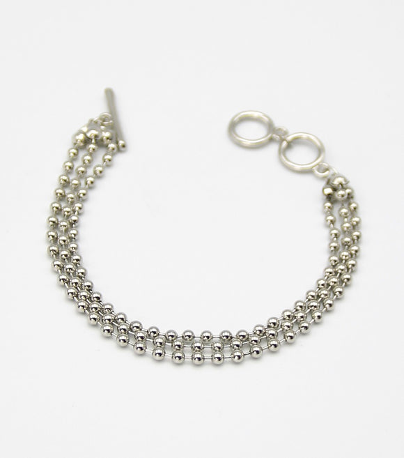 Metal Beaded Toggle Bracelet