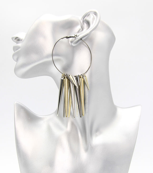 Metal Spikes Hoop Earrings