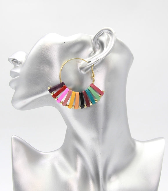 Enamel Bars Metal Hoop Earrings