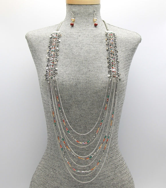 Long Metal Layered Glass Beaded Necklace Set