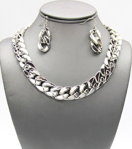 Metal Statemetn Links Necklace Set