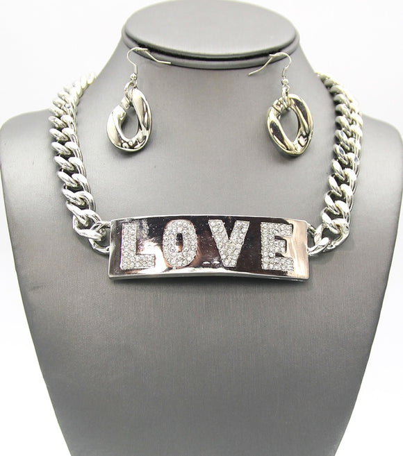 Statement ID LOVE TAG links Necklace Set