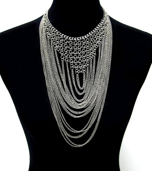 Layered Chain Bib Necklace Set