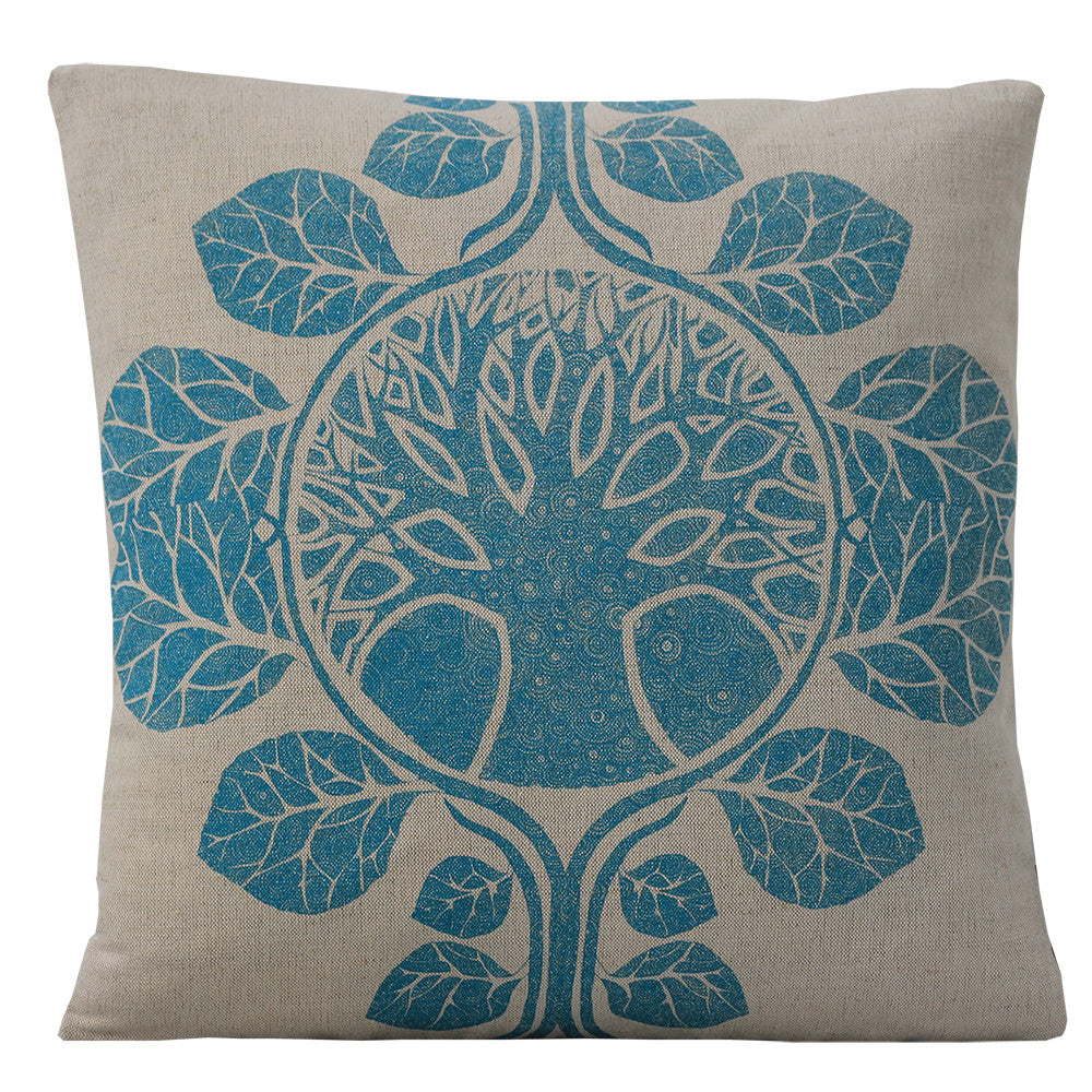 The Tree of Life Aqua Blue, Cushion