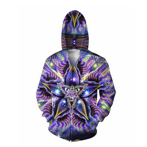 Cerebral Mokasha Double Sided Hoodie psychedelic colorful geometric shapes 3d Print Zipperdresslliy-dresslliy